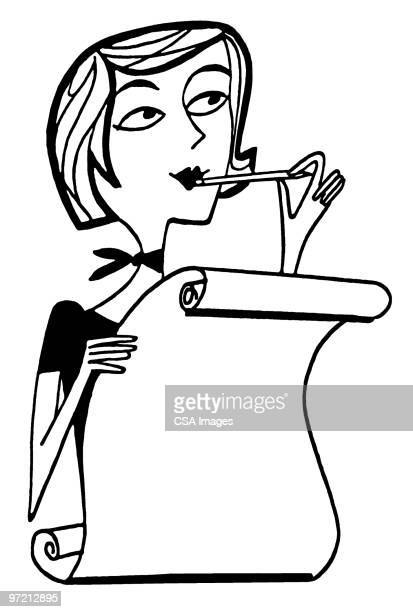 woman making a list - paperwork stock illustrations