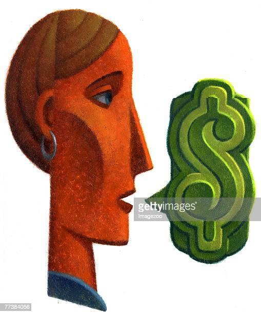 woman making money talk