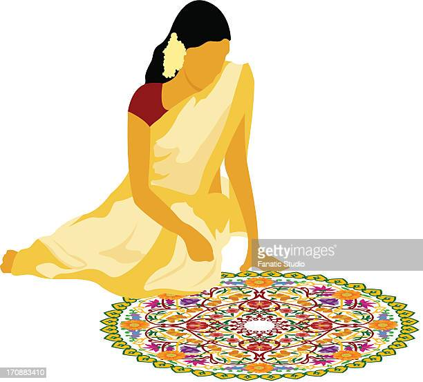 woman making rangoli on the floor - erection stock illustrations, clip art, cartoons, & icons