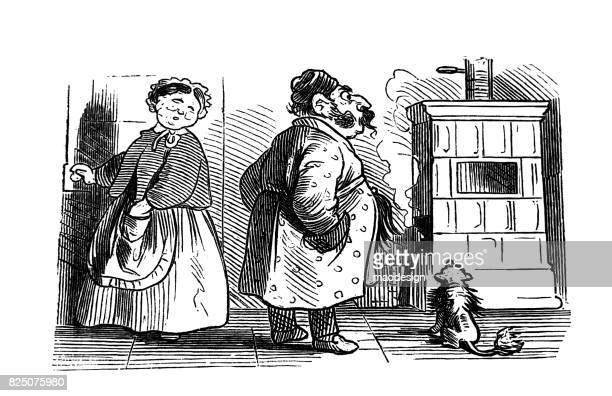 woman, man and dog look at a fireplace that smoke in the wrong place - 1867 - wrong way stock illustrations, clip art, cartoons, & icons