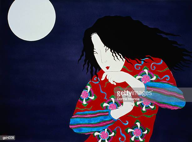 woman & moon - only japanese stock illustrations, clip art, cartoons, & icons