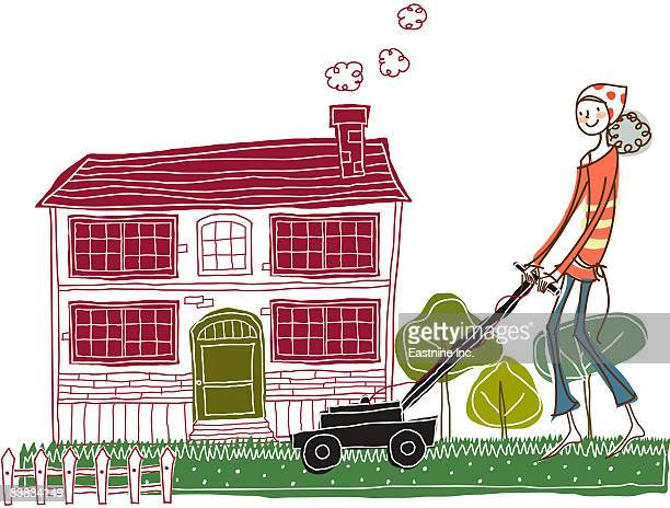 woman mowing lawn - weed wacker stock illustrations, clip art, cartoons, & icons