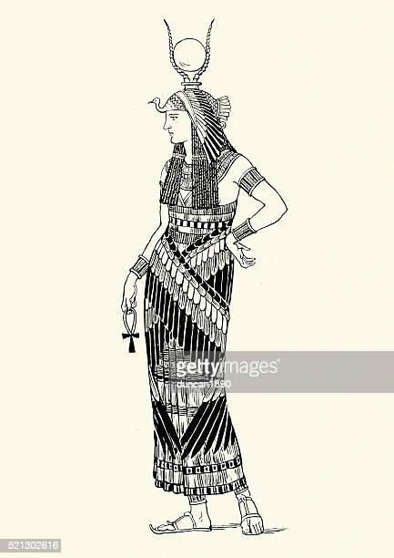 woman of ancient thebes - thebes egypt stock illustrations
