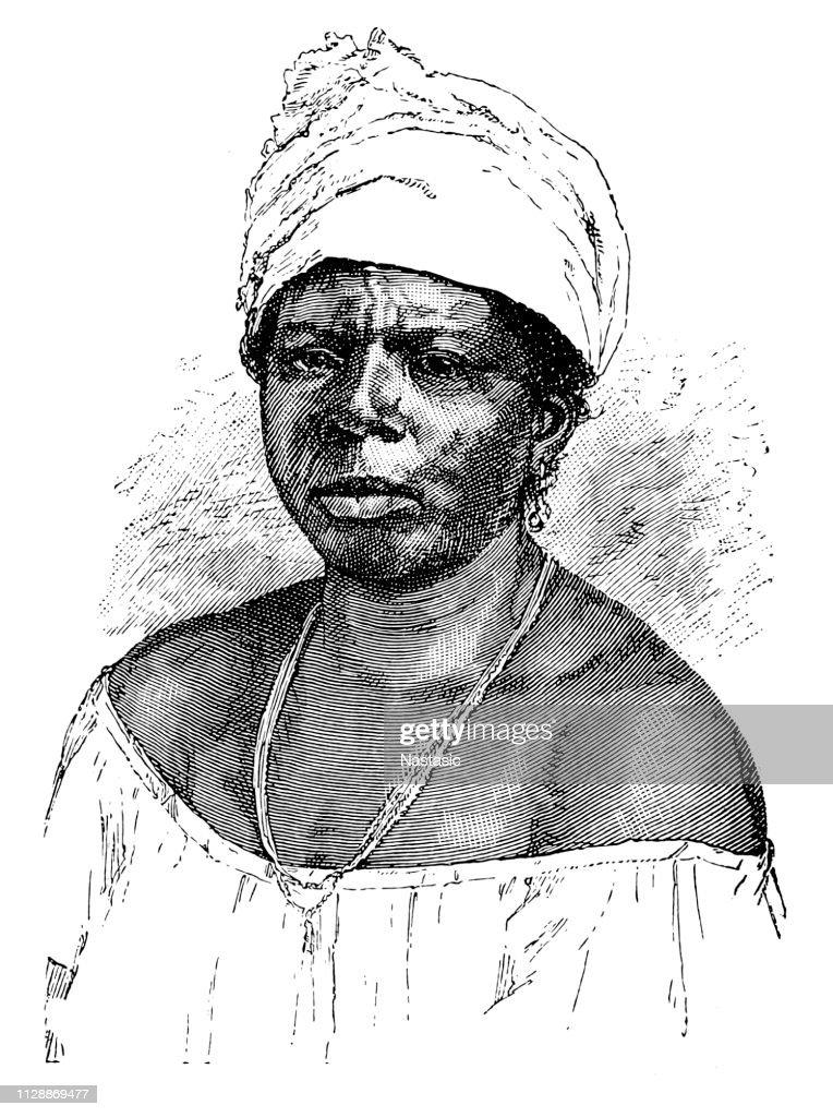 Woman of black African origin : stock illustration