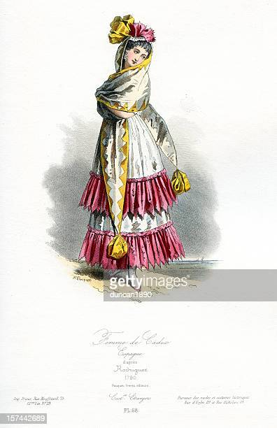 woman of cadiz traditional costume - spanish dancer stock illustrations, clip art, cartoons, & icons