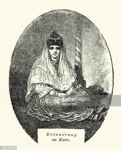 woman of cairo, egypt, 19th century - north african ethnicity stock illustrations, clip art, cartoons, & icons