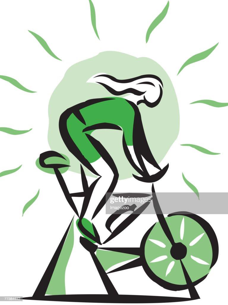 woman on a stationary bike : Vector Art