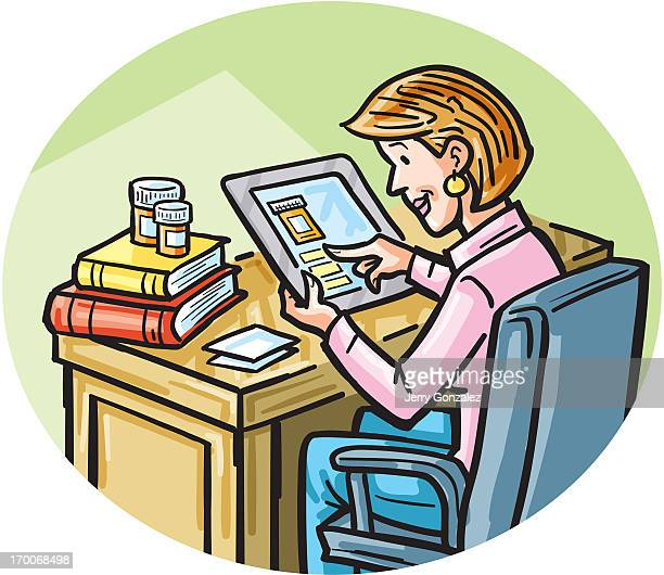 A woman on a tablet looking for online medication