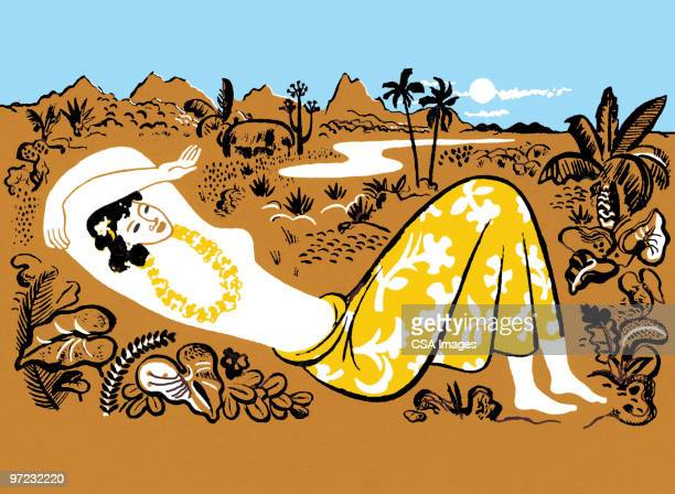 woman on beach - pacific islands stock illustrations
