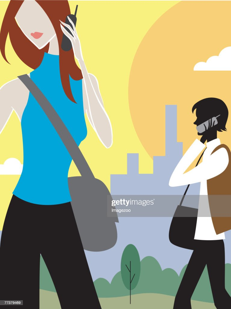 woman on cell phone in park : Illustration