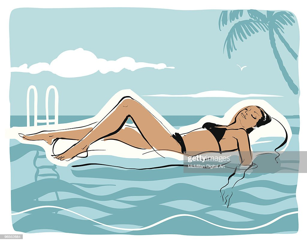 Woman on inflatable raft in swimming pool : stock illustration
