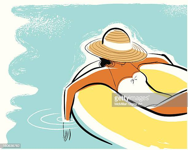 illustrations, cliparts, dessins animés et icônes de woman on inflatable ring in swimming pool - bouée gonflable
