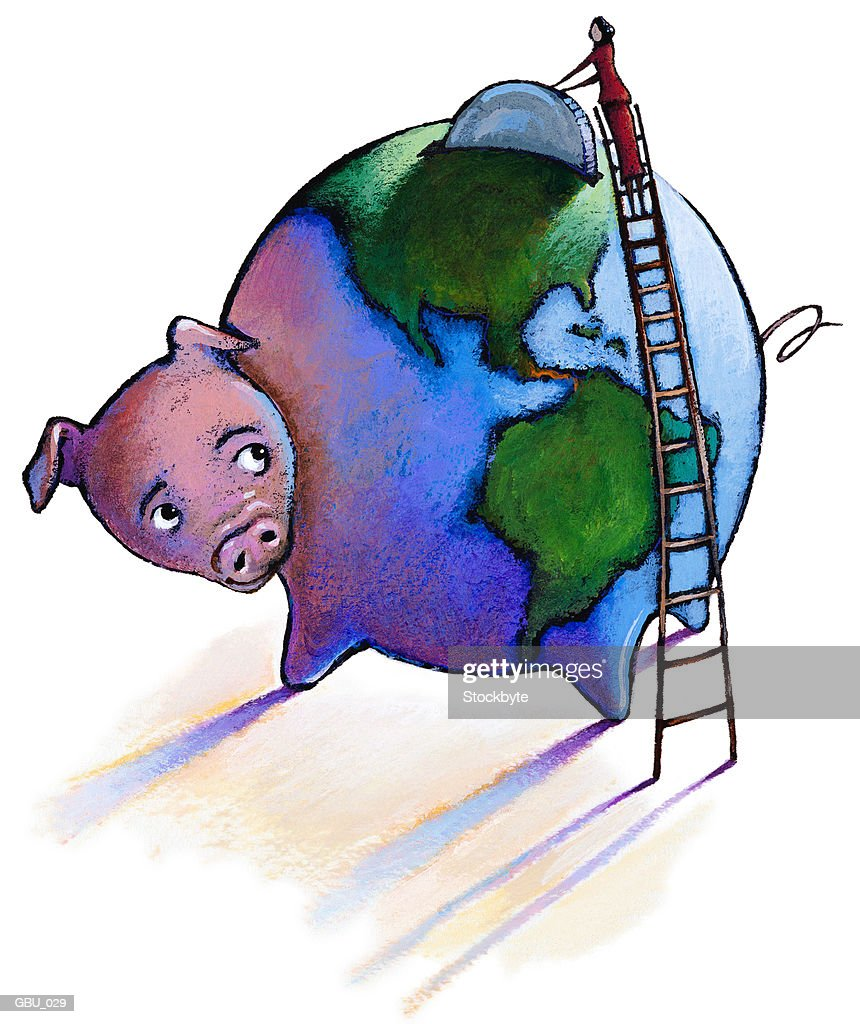 Woman on ladder dropping coin into globe-shaped piggy bank : stock illustration