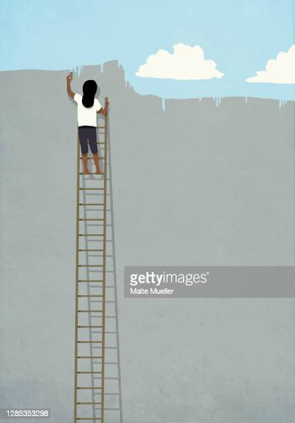 woman on ladder painting blue sky over gray wall - opportunity stock illustrations