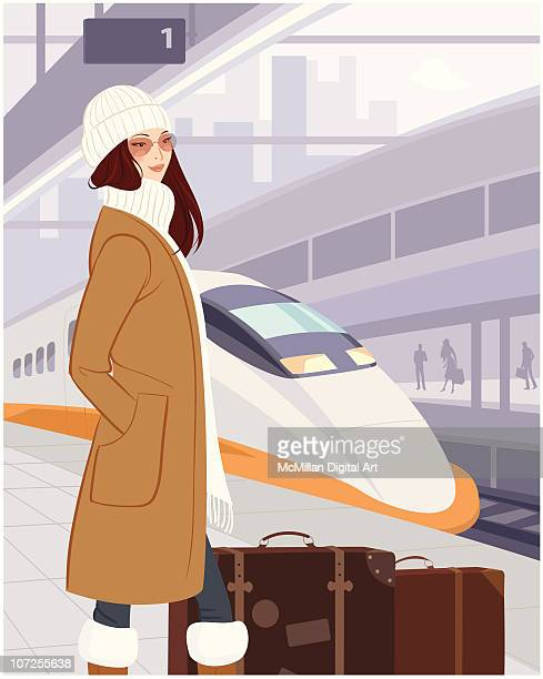 Woman on platform in train station