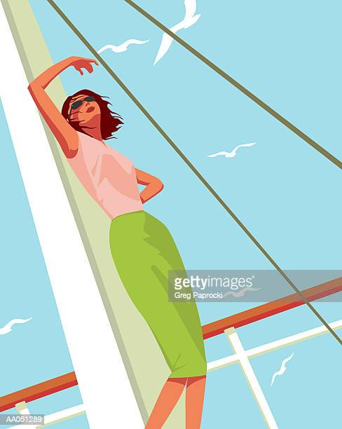 woman on sailboat shading face, low angle view - one mid adult woman only stock illustrations