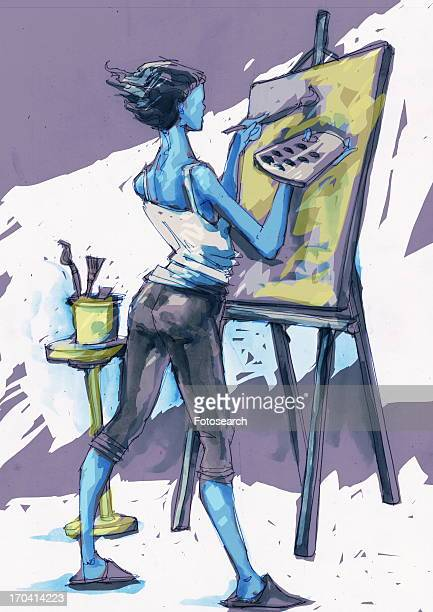 Woman painting a canvas on an easel
