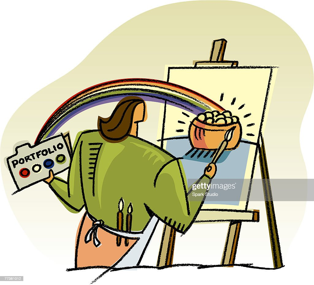 A woman painting a pot of gold : Illustration