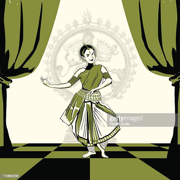 Woman performing Bharatnatyam the Indian classical dance