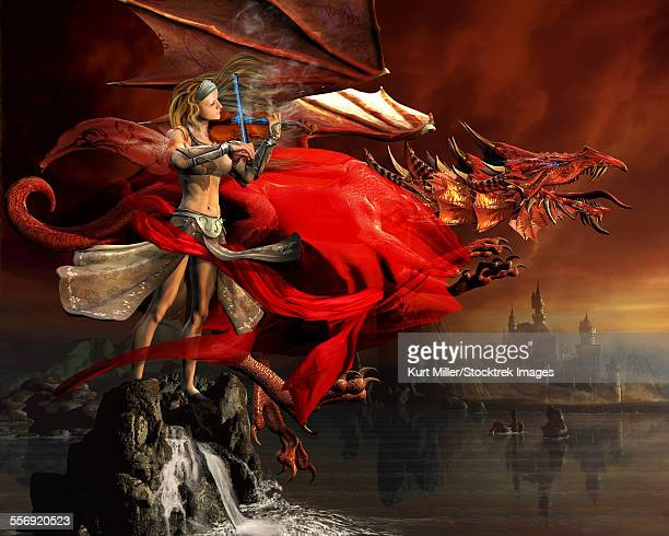 woman playing a magical violin to call out a red dragon. - talon stock illustrations