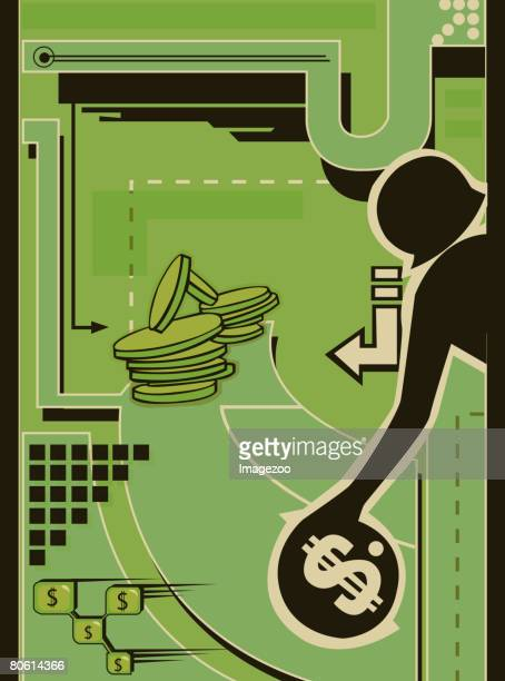 a woman playing bowling with coins - number of people stock illustrations, clip art, cartoons, & icons