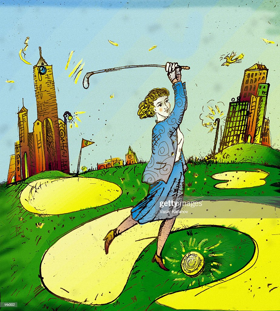 Woman Playing Golf with Coin : Stockillustraties