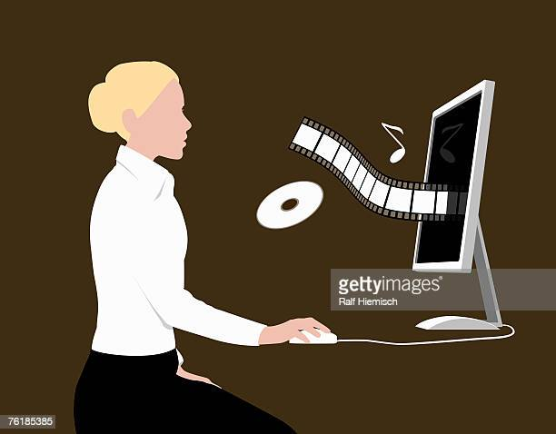 a woman playing music while sitting at a desktop computer - updo stock illustrations, clip art, cartoons, & icons