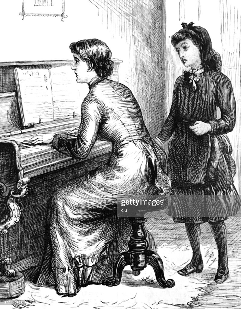 Woman playing piano, girl behind her listening : stock illustration