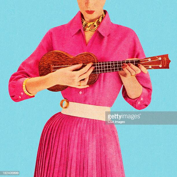 woman playing ukulele - studio shot stock illustrations, clip art, cartoons, & icons