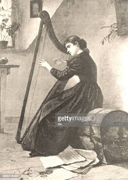 woman playing zither sitting on a box - nur erwachsene stock illustrations