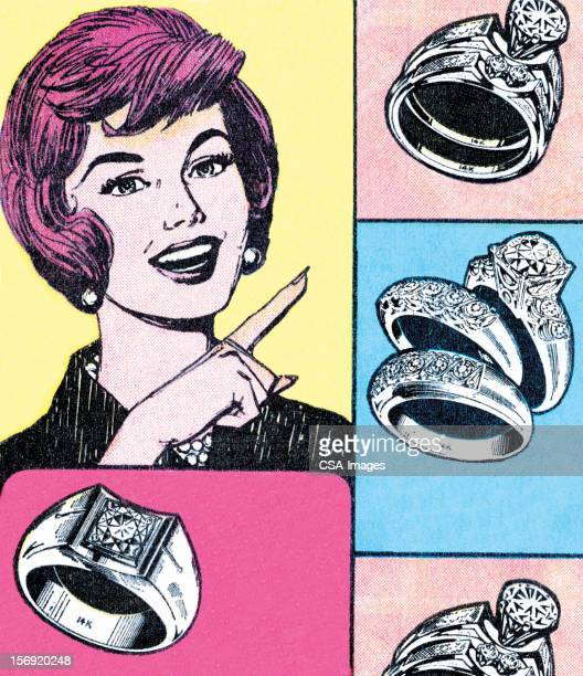 Woman Pointing at Rings