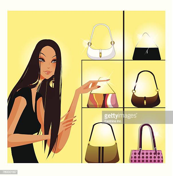 woman pointing towards a purse - display cabinet stock illustrations, clip art, cartoons, & icons