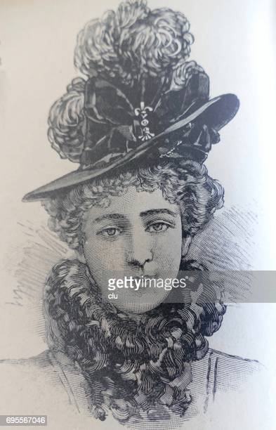 woman portrait with fasionable hat 19. jahrhundert - spaß stock illustrations