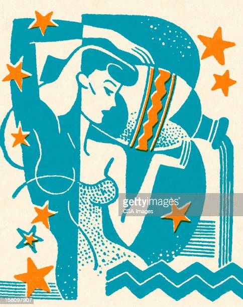 woman pouring water from vessel - jug stock illustrations, clip art, cartoons, & icons