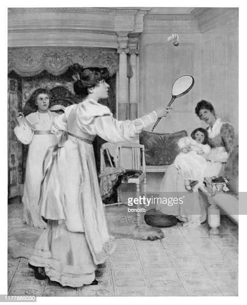 woman practicing badminton - badminton racket stock illustrations