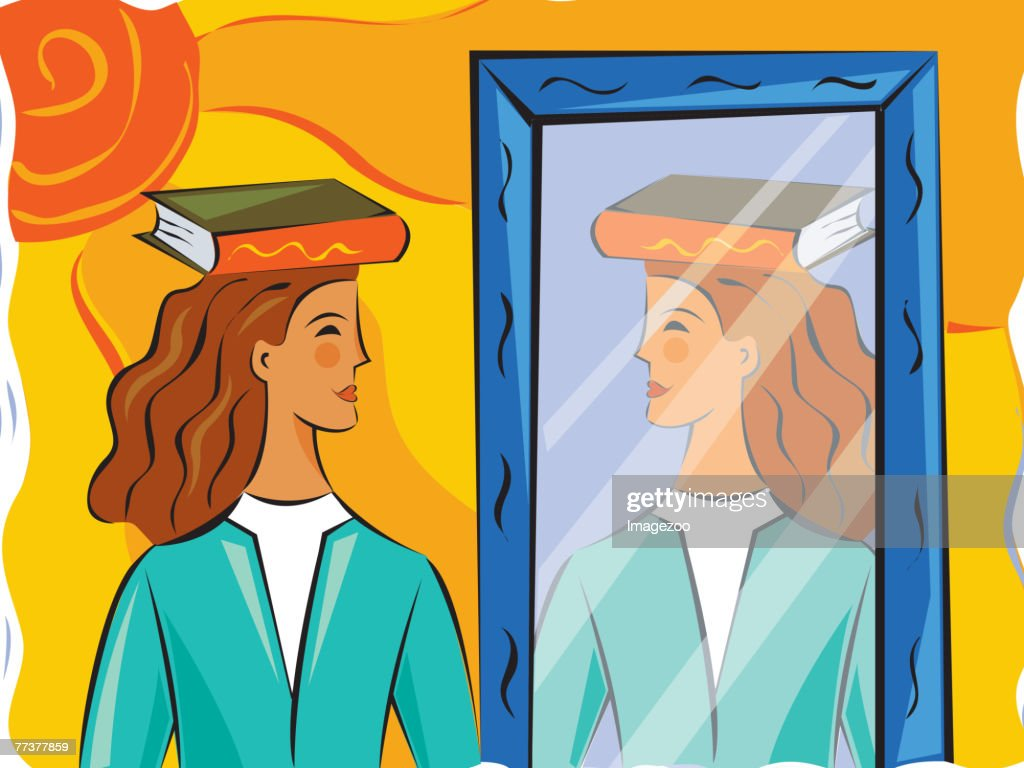 Woman practicing good posture in front of a mirror : Illustration