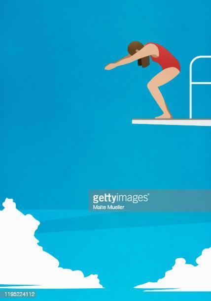 woman preparing to dive off platform - anticipation stock illustrations