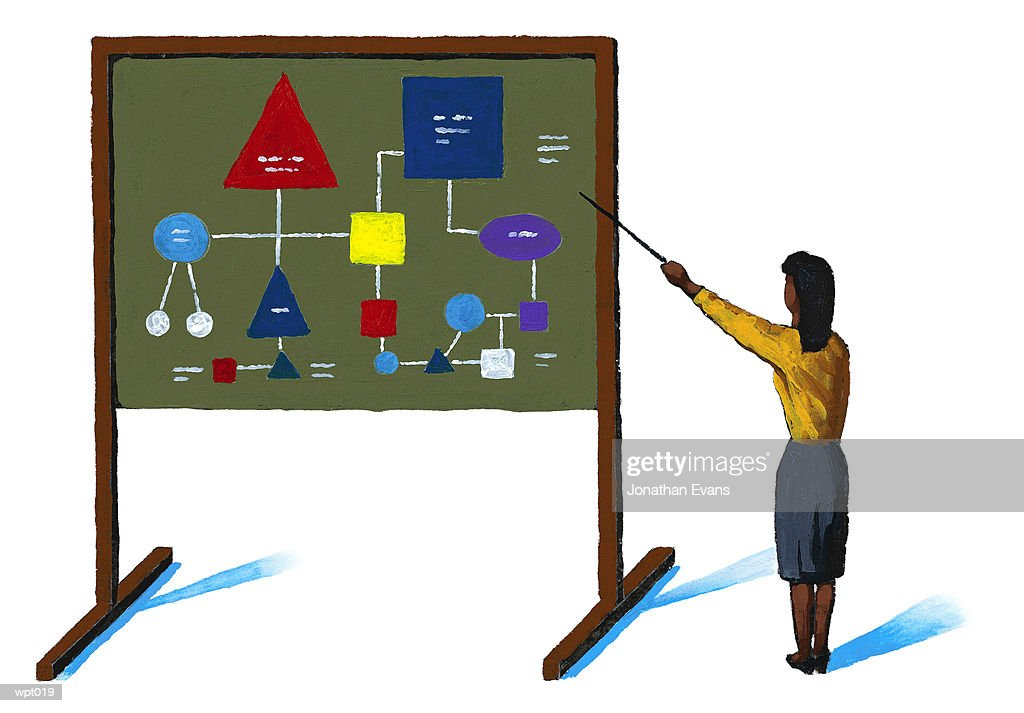 Woman Presenting Schematic Diagram : Illustrazione stock