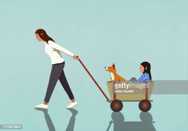 woman pulling daughter and dog in wagon - family stock illustrations