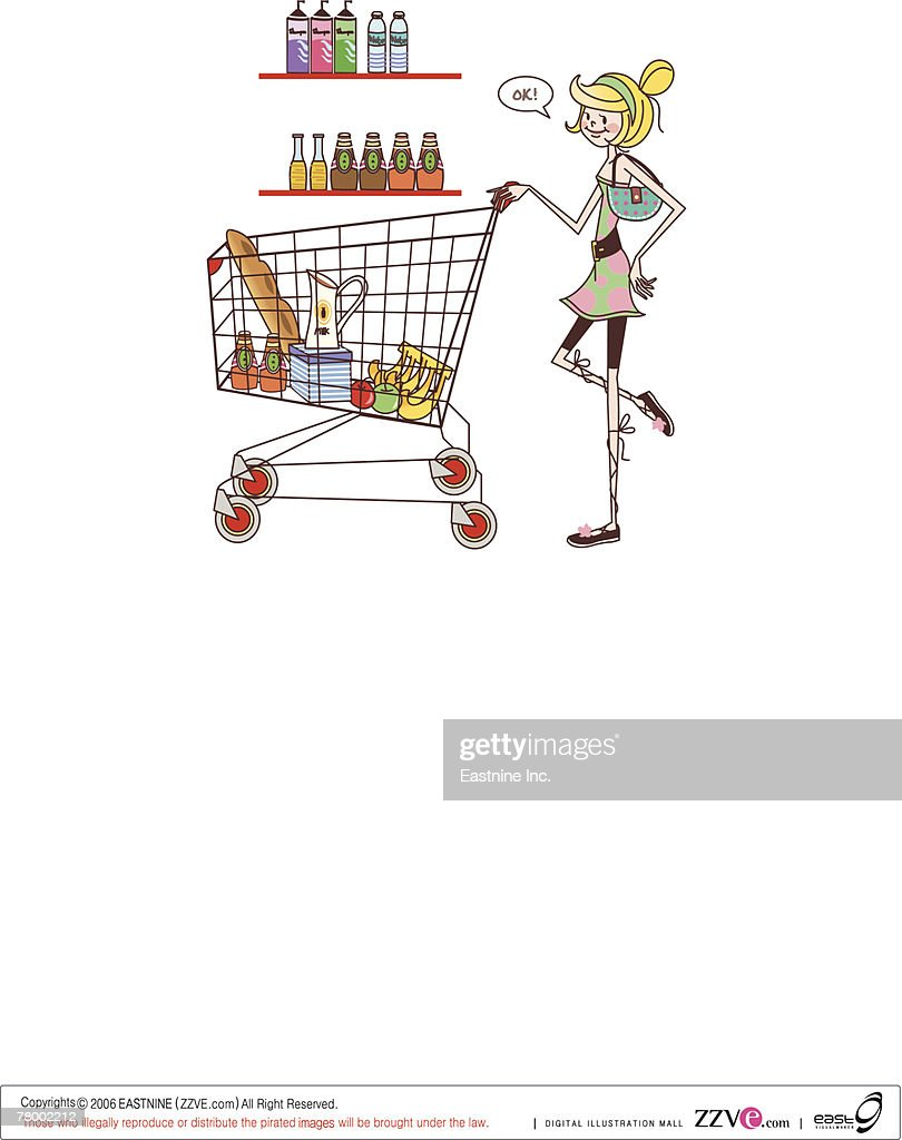 Woman pushing a shopping cart : Vector Art