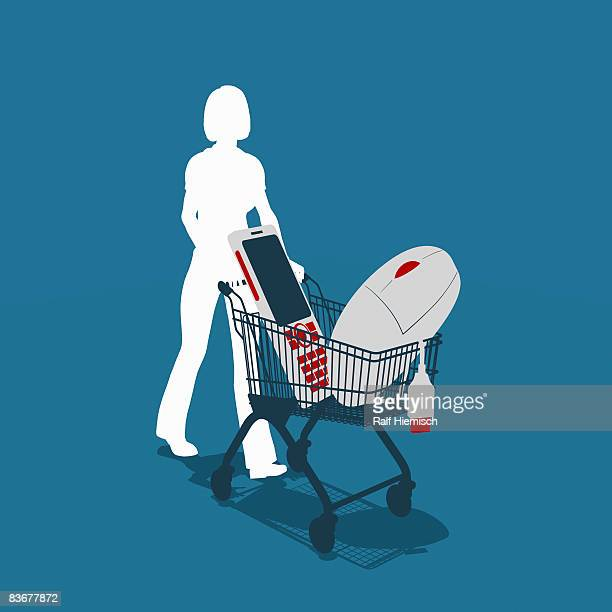 a woman pushing a shopping trolley with electronic equipment - consumerism stock illustrations
