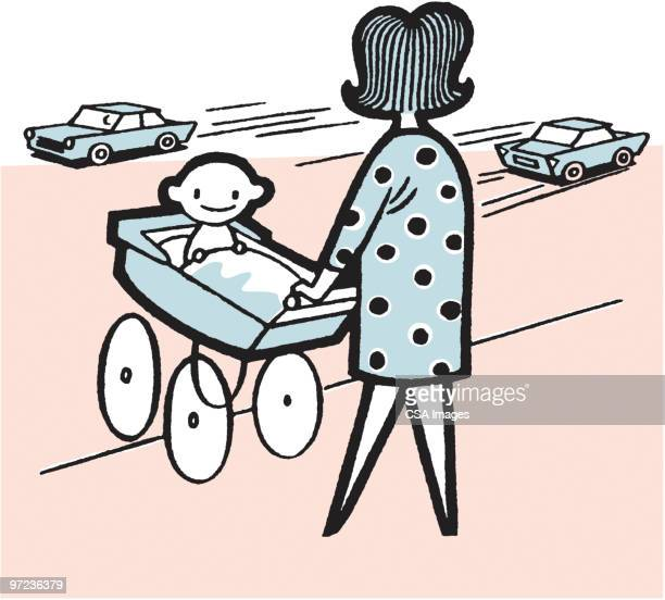 woman pushing baby in carriage - road marking stock illustrations