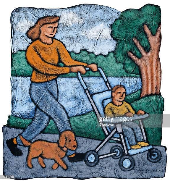 ilustraciones, imágenes clip art, dibujos animados e iconos de stock de woman pushing boy in stroller; dog walking beside them - mujeres de mediana edad