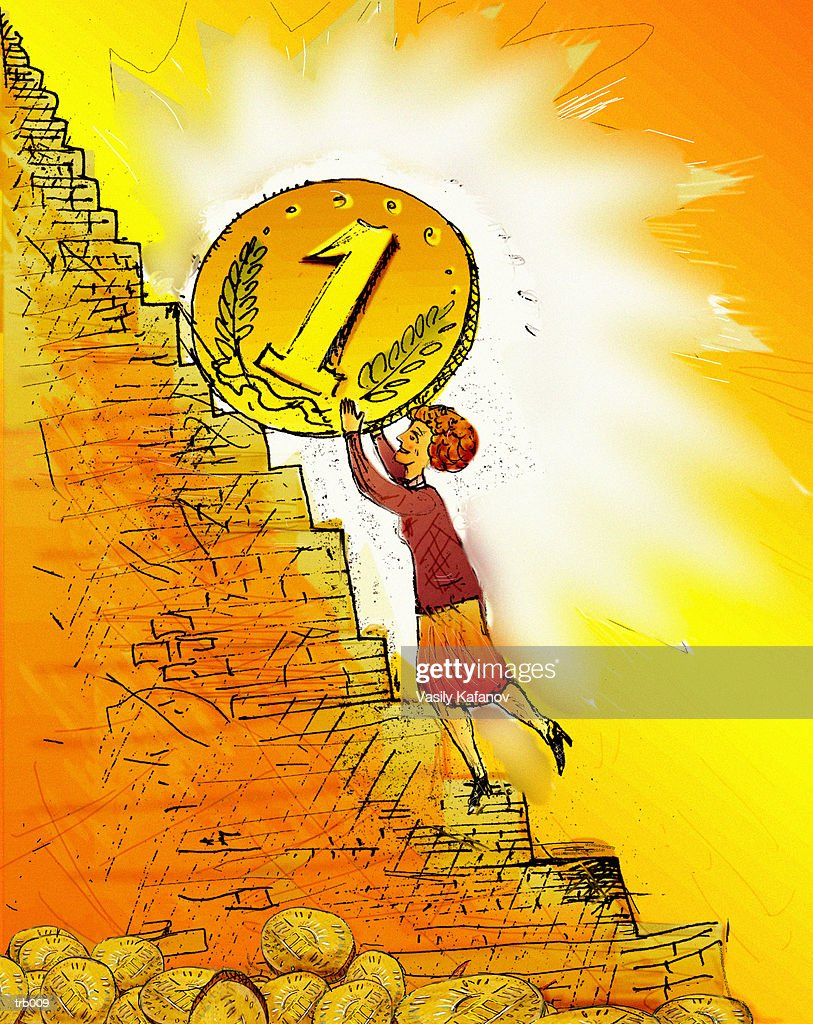 Woman Pushing Coin Up Steps : Stock Illustration