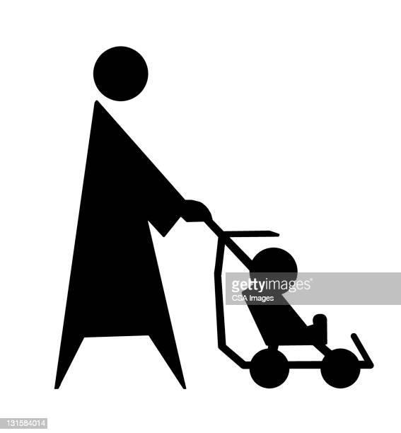 woman pushing stroller - toddler stock illustrations