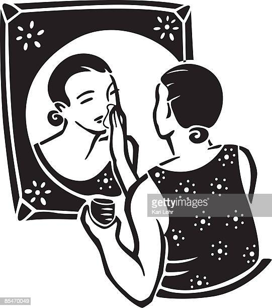 a woman putting face cream on in the morning - one mid adult woman only stock illustrations