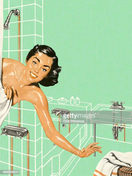Woman Reaching Out of the Shower