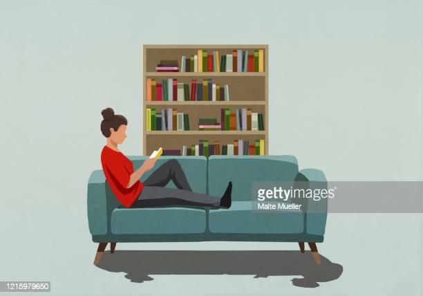 woman reading book on sofa - safety stock illustrations