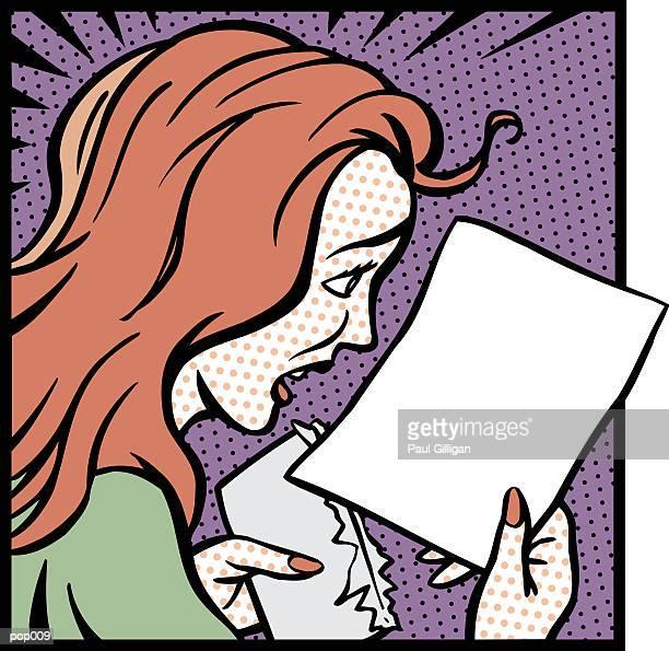 ilustrações de stock, clip art, desenhos animados e ícones de woman reading letter - cabelo liso