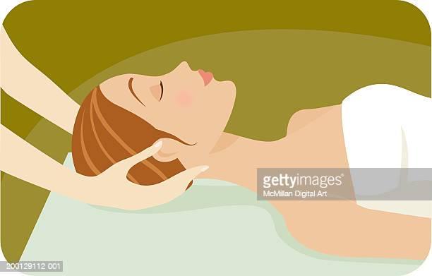 illustrations, cliparts, dessins animés et icônes de woman receiving head massage, side view - masseur